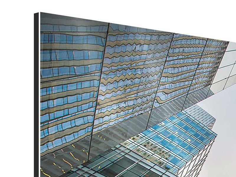 Aluminiumbild 3-teilig modern Hochhäuser