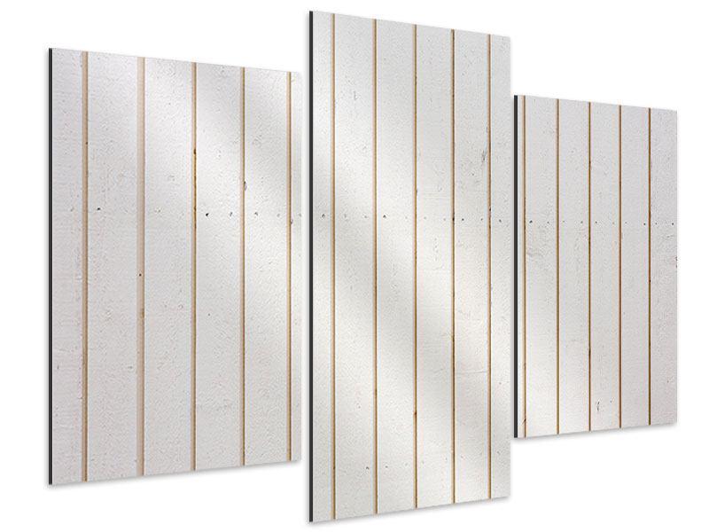 Aluminiumbild 3-teilig modern Mediterranes Holz