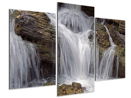 Aluminiumbild 3-teilig modern Wasserfall XXL
