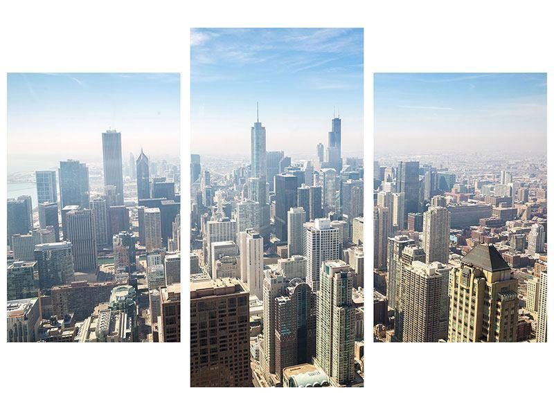 Aluminiumbild 3-teilig modern Wolkenkratzer Chicago
