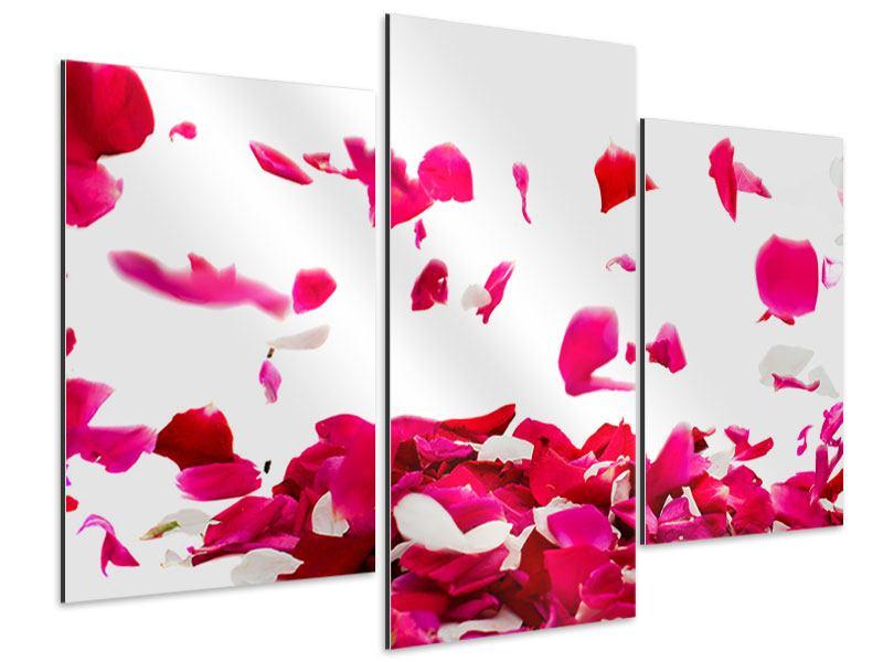 Aluminiumbild 3-teilig modern Für mich soll`s rote Rosen regnen