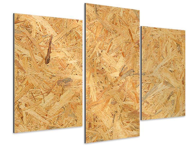 Aluminiumbild 3-teilig modern Gepresstes Holz