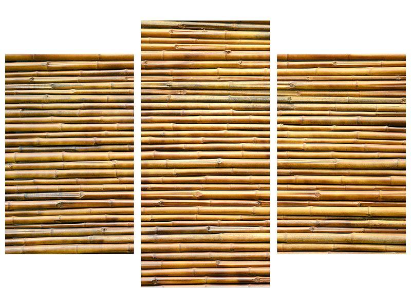 Aluminiumbild 3-teilig modern Bambus