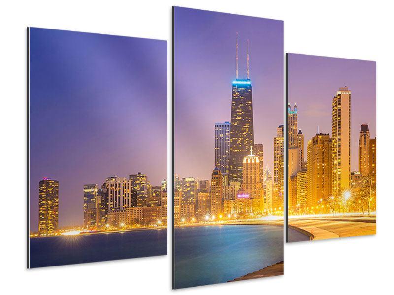 Aluminiumbild 3-teilig modern Skyline Chicago in der Nacht