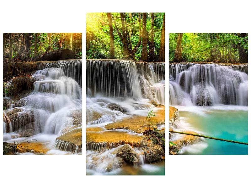 Aluminiumbild 3-teilig modern Nationalpark Si Nakharin