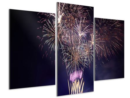 Aluminiumbild 3-teilig modern Feuerwerk
