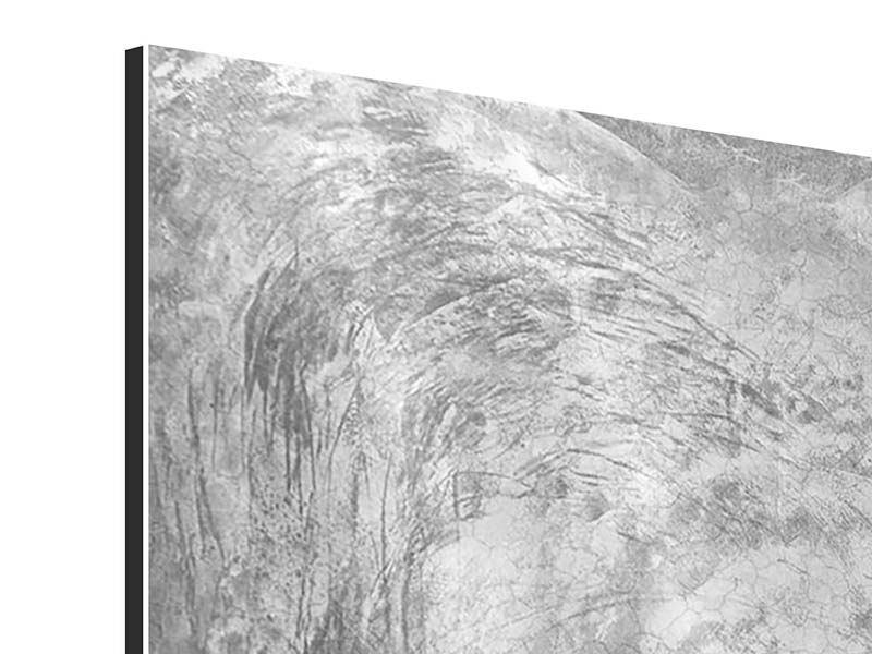 Aluminiumbild 3-teilig modern Wischtechnik in Grau
