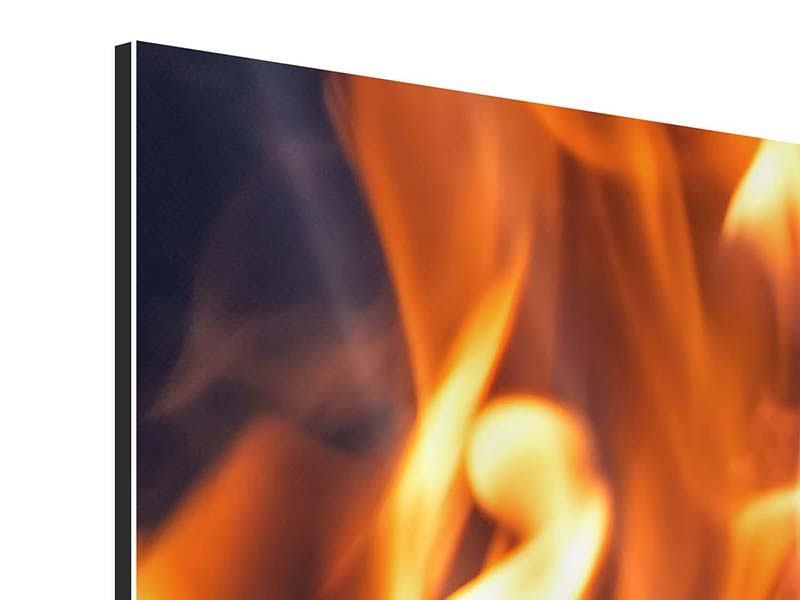 Aluminiumbild 3-teilig modern Lagerfeuer