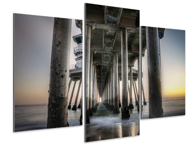 Aluminiumbild 3-teilig modern Brückenpfeiler
