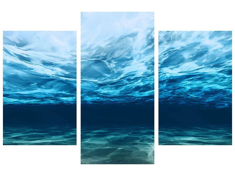 Aluminiumbild 3-teilig modern Lichtspiegelungen unter Wasser