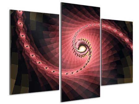 Aluminiumbild 3-teilig modern Abstrakte Windungen