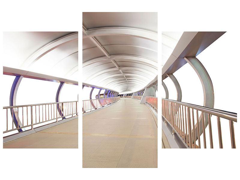 Aluminiumbild 3-teilig modern Brückenfeeling