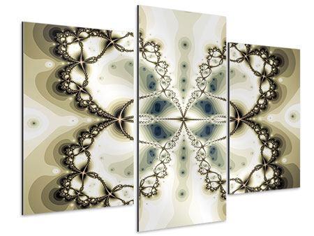 Aluminiumbild 3-teilig modern Abstrakter Schmetterling
