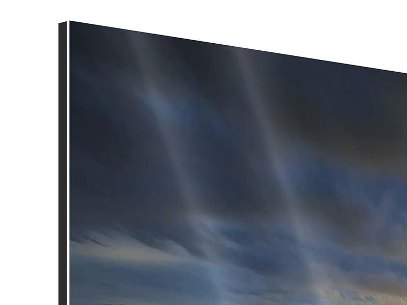 Aluminiumbild 3-teilig modern Der Sonnenuntergang bei der Holzbrücke