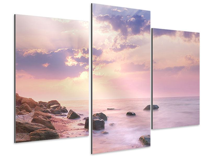 Aluminiumbild 3-teilig modern Sonnenaufgang am Meer