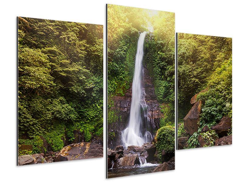 Aluminiumbild 3-teilig modern Wasserfall Bali