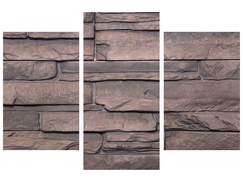 Aluminiumbild 3-teilig modern Luxusmauer