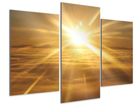 Aluminiumbild 3-teilig modern Über dem Wolkenmeer