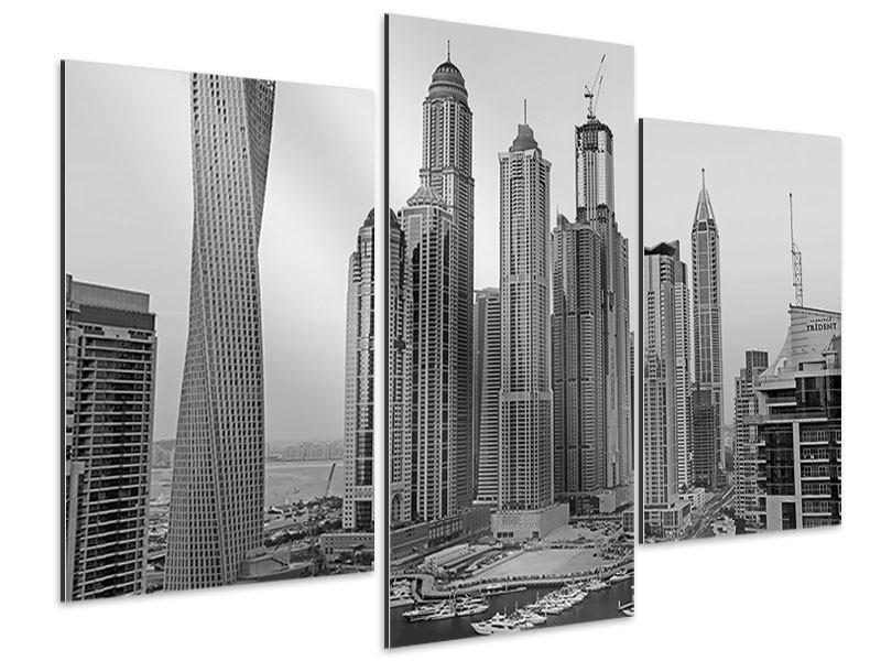 Aluminiumbild 3-teilig modern Majestätische Wolkenkratzer in Dubai