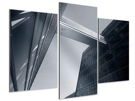 Aluminiumbild 3-teilig modern Der schwarze Diamant Kopenhagens