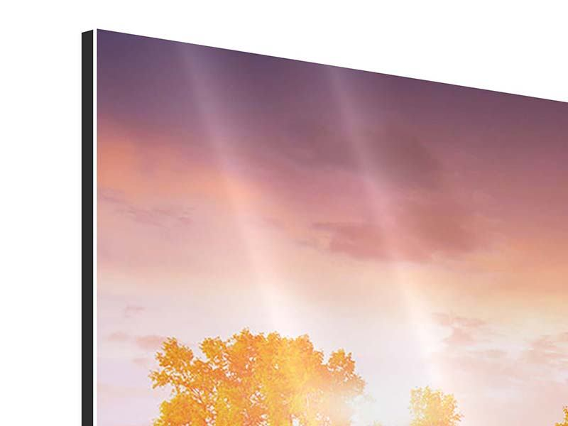 Aluminiumbild 3-teilig modern Sonnenuntergang am See