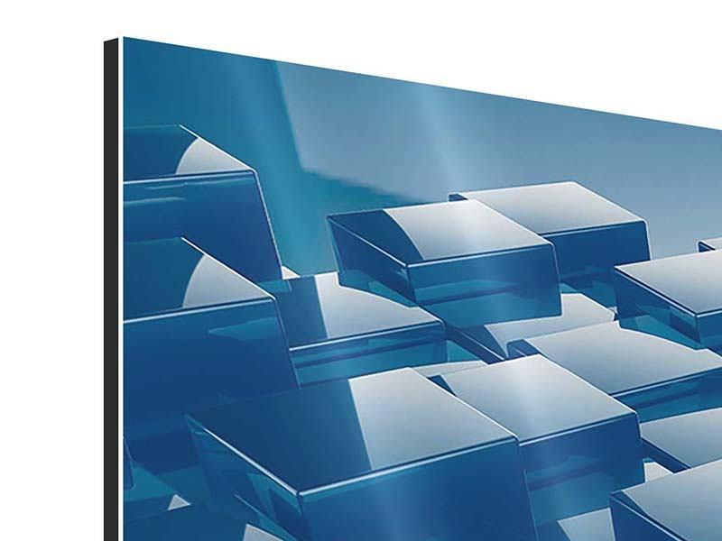 Aluminiumbild 3-teilig modern 3D-Cubes