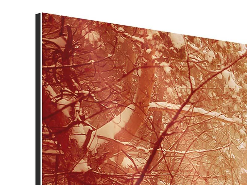 Aluminiumbild 3-teilig modern Schneewald