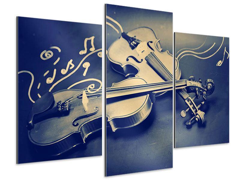 Aluminiumbild 3-teilig modern Geigen