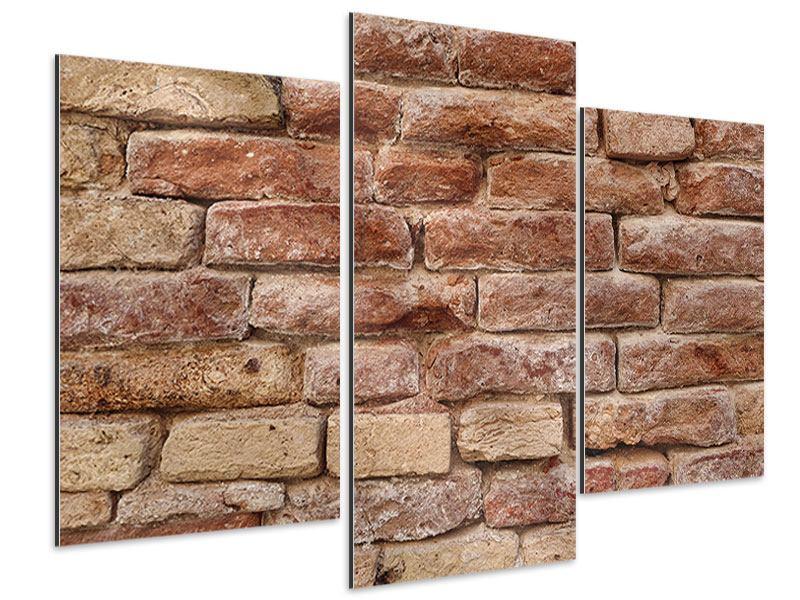 Aluminiumbild 3-teilig modern Loft-Mauer