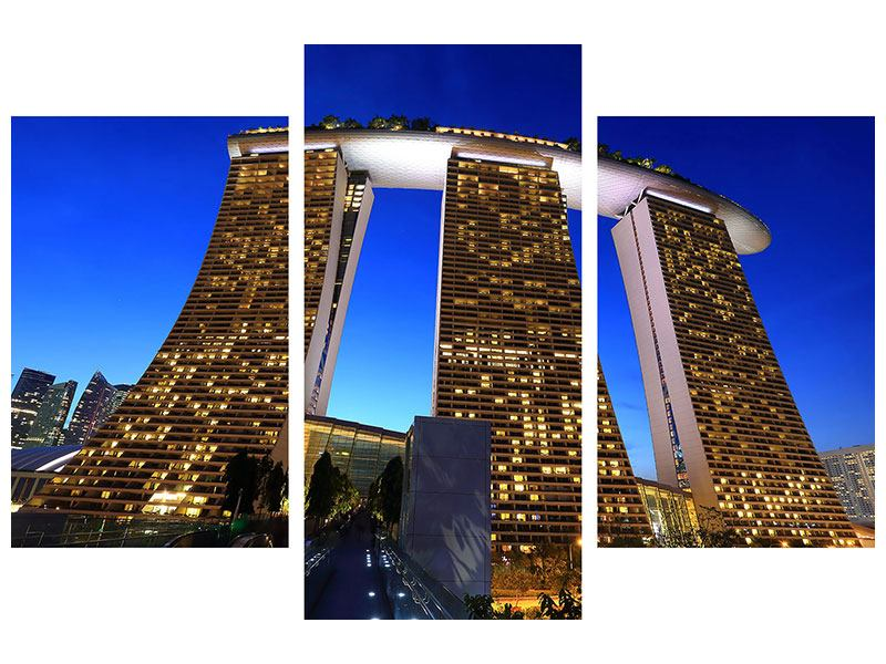 Aluminiumbild 3-teilig modern Wolkenkratzer Singapur