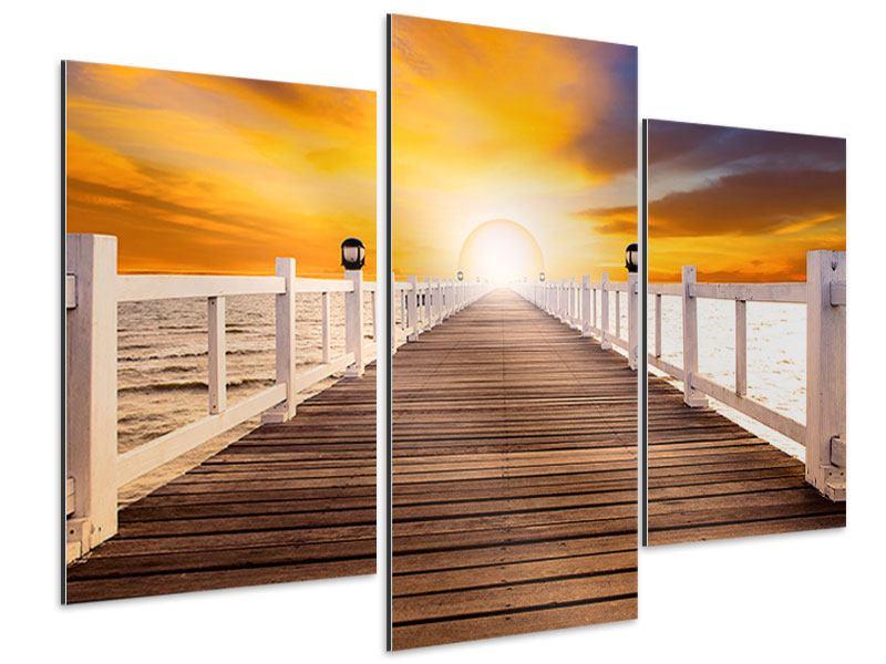 Aluminiumbild 3-teilig modern Die Brücke Ins Glück