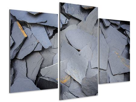 Aluminiumbild 3-teilig modern Schieferplatten