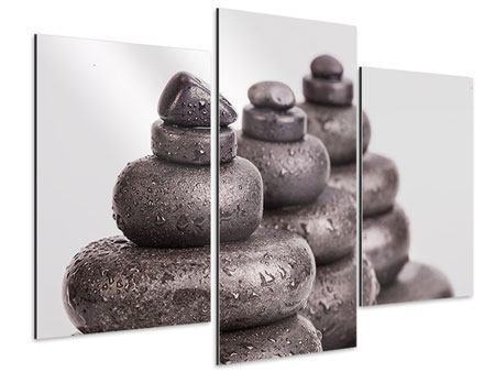 Aluminiumbild 3-teilig modern Die Kraft der Steine