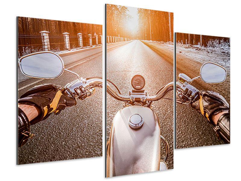 Aluminiumbild 3-teilig modern Auf dem Motorrad