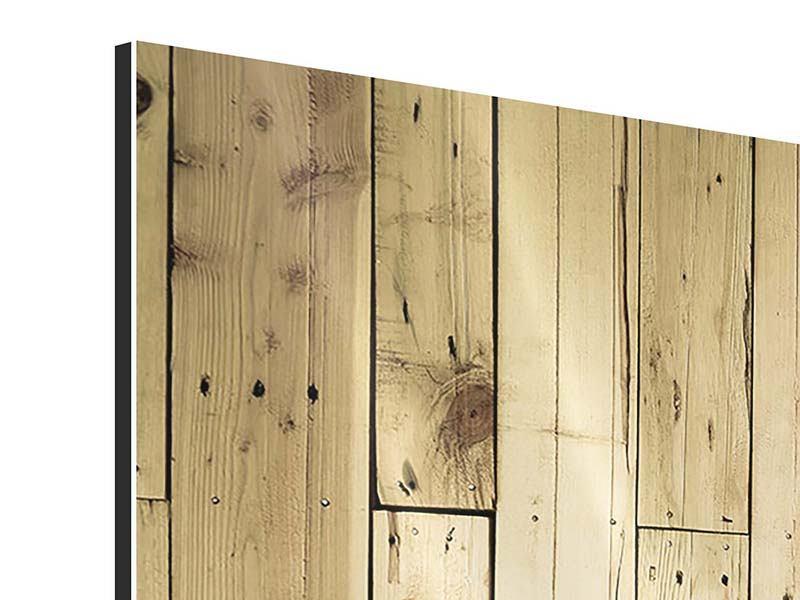 Aluminiumbild 3-teilig modern Holzpaneelen