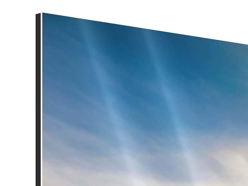 Aluminiumbild 3-teilig modern Über den verschneiten Gipfeln