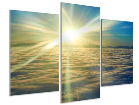 Aluminiumbild 3-teilig modern Sonnenaufgang über den Wolken