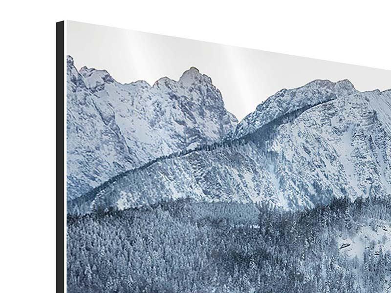 Aluminiumbild 3-teilig modern Schwarzweissfotografie Berge