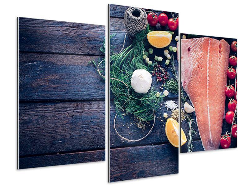 Aluminiumbild 3-teilig modern Fangfrischer Fisch