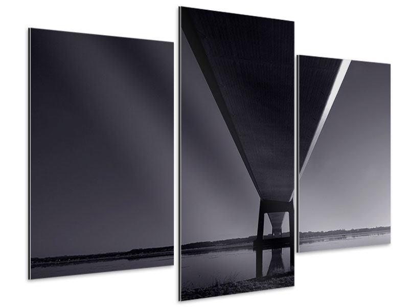 Aluminiumbild 3-teilig modern Die Brücke über tiefes Wasser