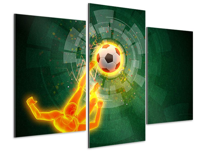 Aluminiumbild 3-teilig modern Der Kicker