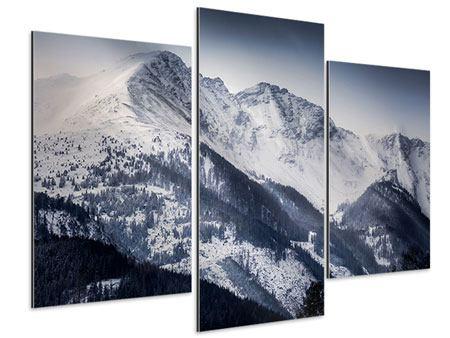 Aluminiumbild 3-teilig modern Die Berge der Schweiz