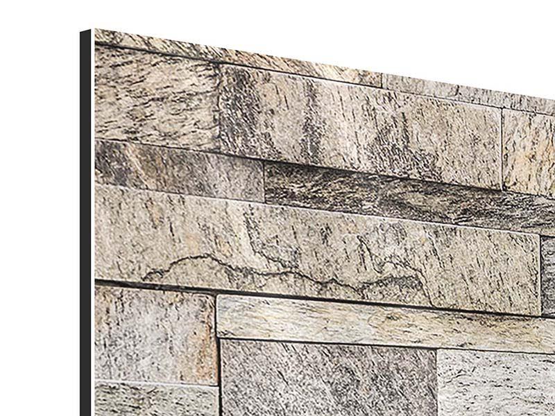 Aluminiumbild 3-teilig modern Elegante Steinmauer