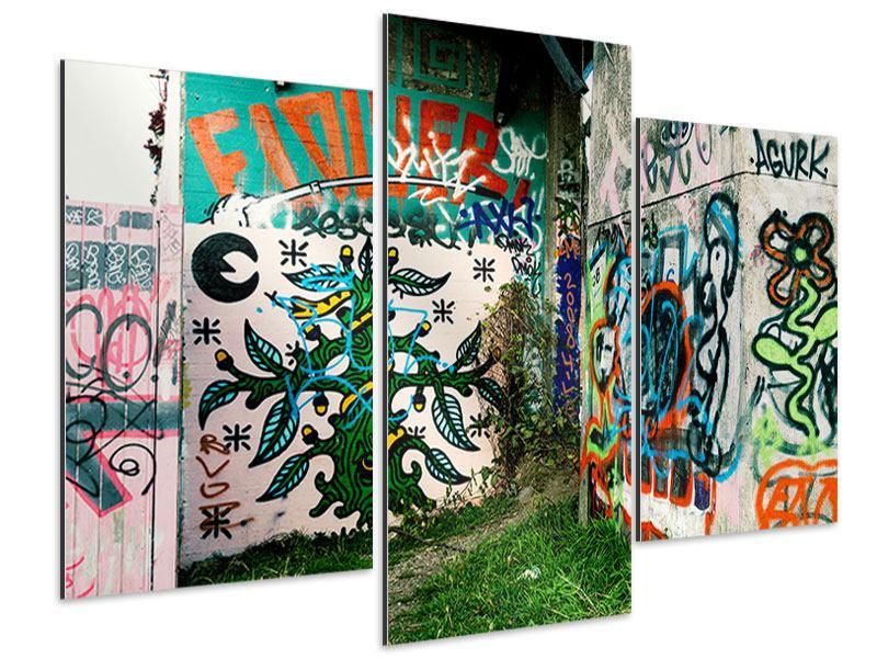 Aluminiumbild 3-teilig modern Graffiti im Hinterhof