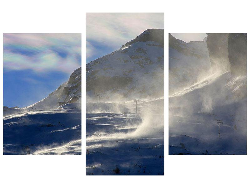 Aluminiumbild 3-teilig modern Mit Schneeverwehungen den Berg in Szene gesetzt