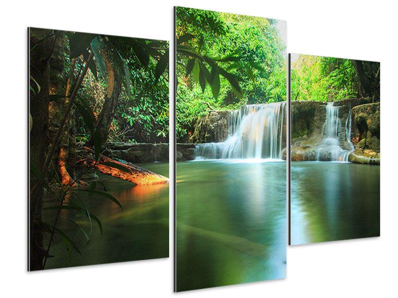 Aluminiumbild 3-teilig modern Element Wasser