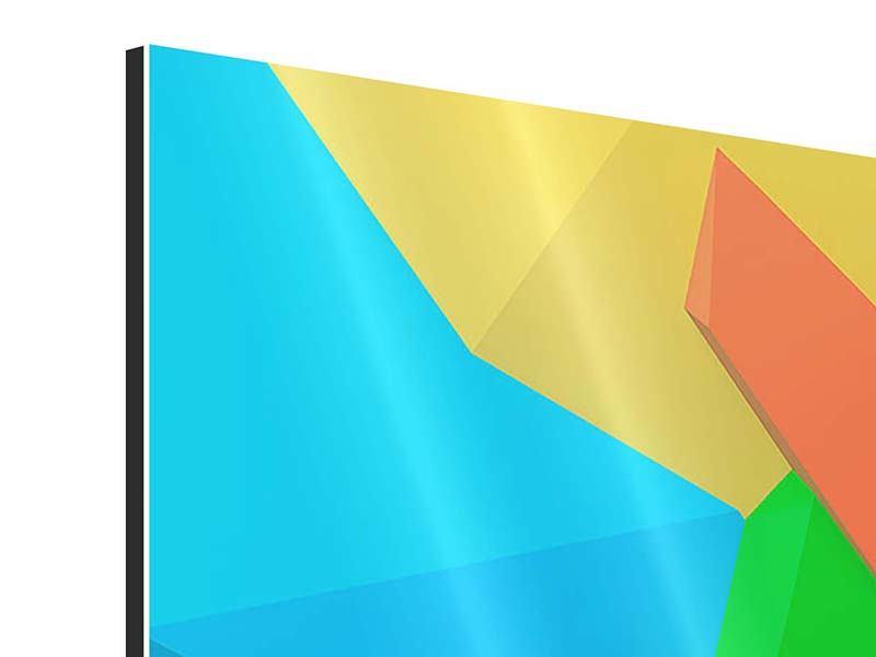 Aluminiumbild 3-teilig modern 3D-Geometrische Figuren