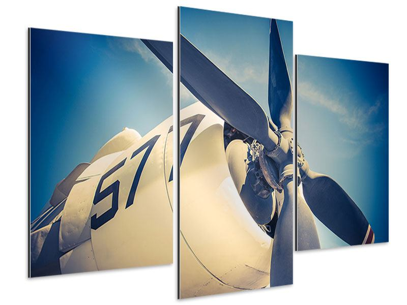 Aluminiumbild 3-teilig modern Close Up Propellerflugzeug