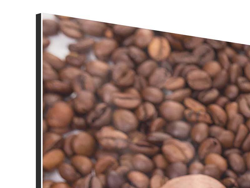 Aluminiumbild 3-teilig modern Pausenkaffee