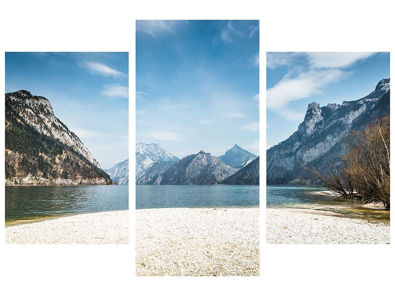 Aluminiumbild 3-teilig modern Der idyllische Bergsee